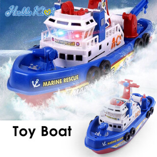 HelloKimi Music Light Boat Toy Electric Marine Rescue Fire Fighting Boat High Speed Electric Fire Boat Toy Non-Remote Toy for Kids Children thumbnail