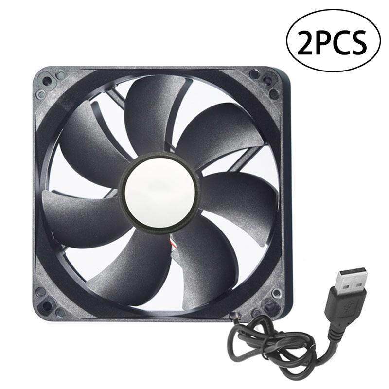 2pcs 12cm USB Cooling Fan Silent High Airflow Fan Cooler for Router Portable Hard Drive TV Box (Black) Malaysia