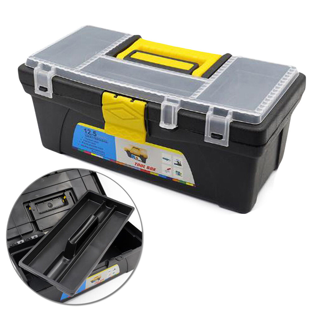 12.5in Plastic Toolbox Household Hardware Tool Suitcase Orgnaizer Fishing