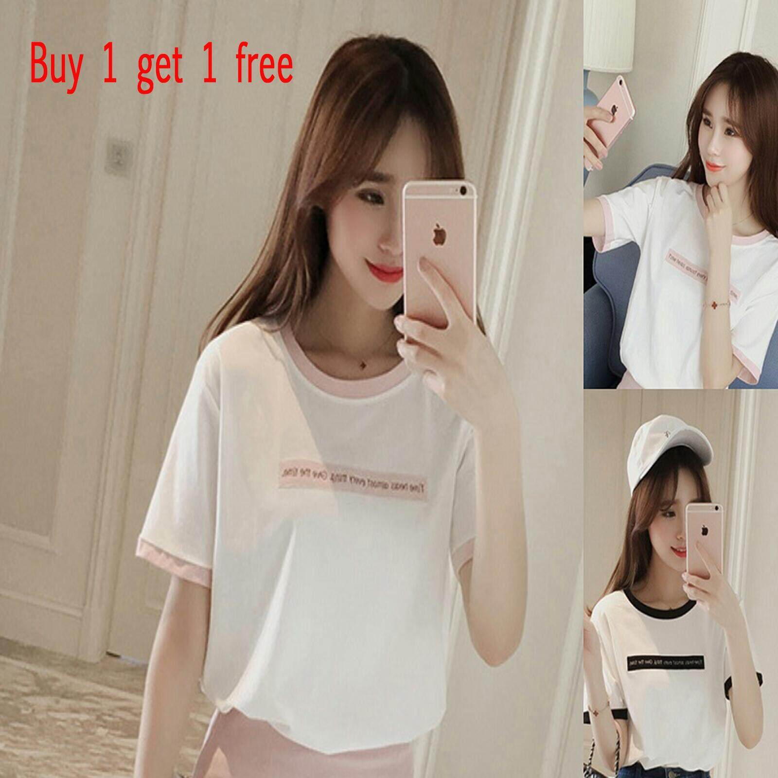 Promotions Buy 1 Get 1 Free New women's letter print round neck short-sleeved T
