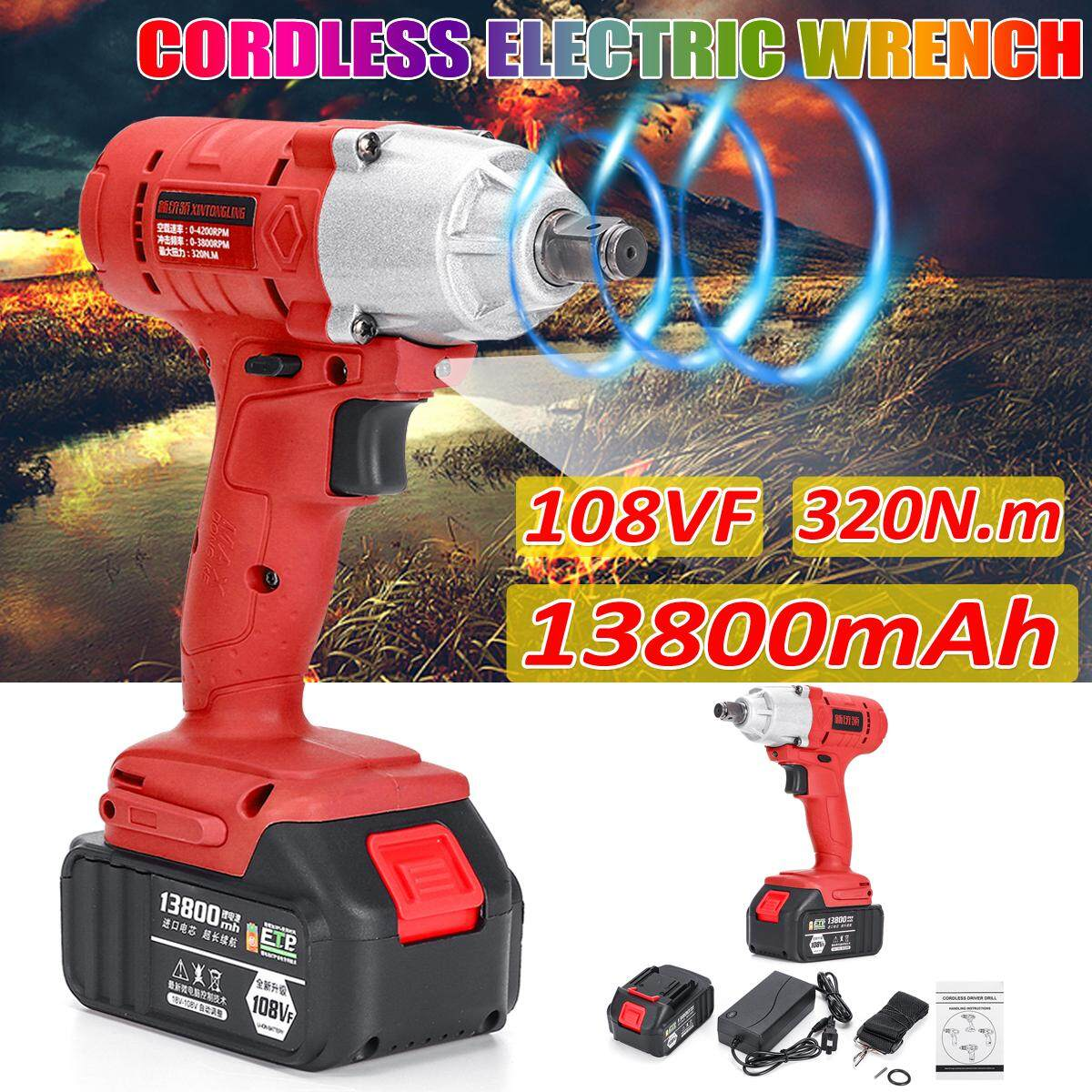108VF 13800mAh 4200RPM Electric Cordless Impact Wrench Torque Drill Tool