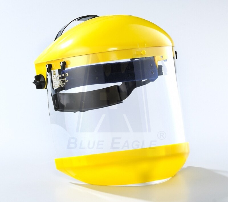 BLUE EAGLE Yellow Browguard ABS Holder B1YE with HG1 Headgear + Clear Polycarbonate Faceshield Visor FC83 + Yellow ABS Chinguard C3YE, Certified by CE EN166, ANSI Z87.1 & CSA Z94.3