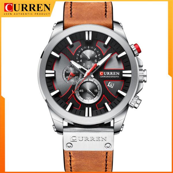 CURREN 8346 Men Watch Waterproof Quartz Wrist Watch Multifunctional Calendar Alloy Case Leather Band Watch Malaysia