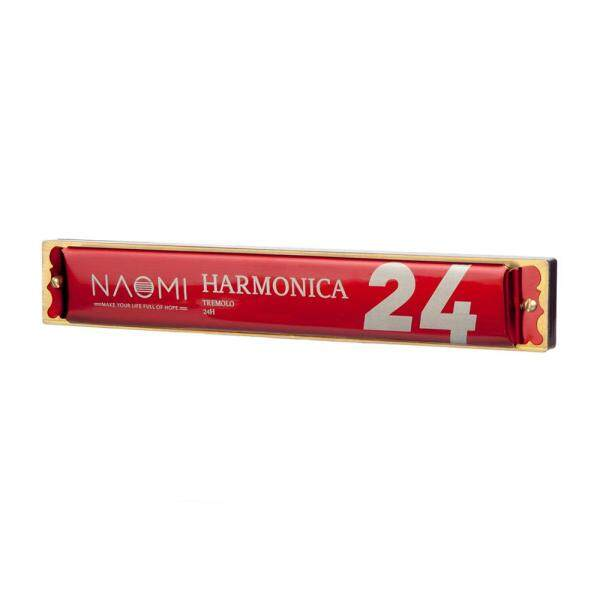 NAOMI 24 Holes Tremolo Harmonica Key of C Stainless Steel Mouth Organ Harmonicas with Case Wind Instrument Red Malaysia