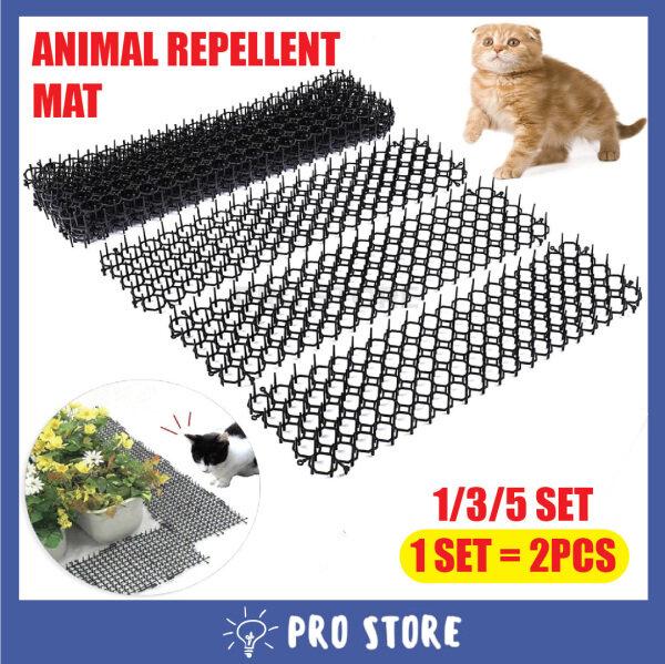 PROSTORE Animal Repellent Mat 2pcs Scat Spike Mat Humane Anti Cat Dog Mat Spikes Humane Black Pet Control Carpet