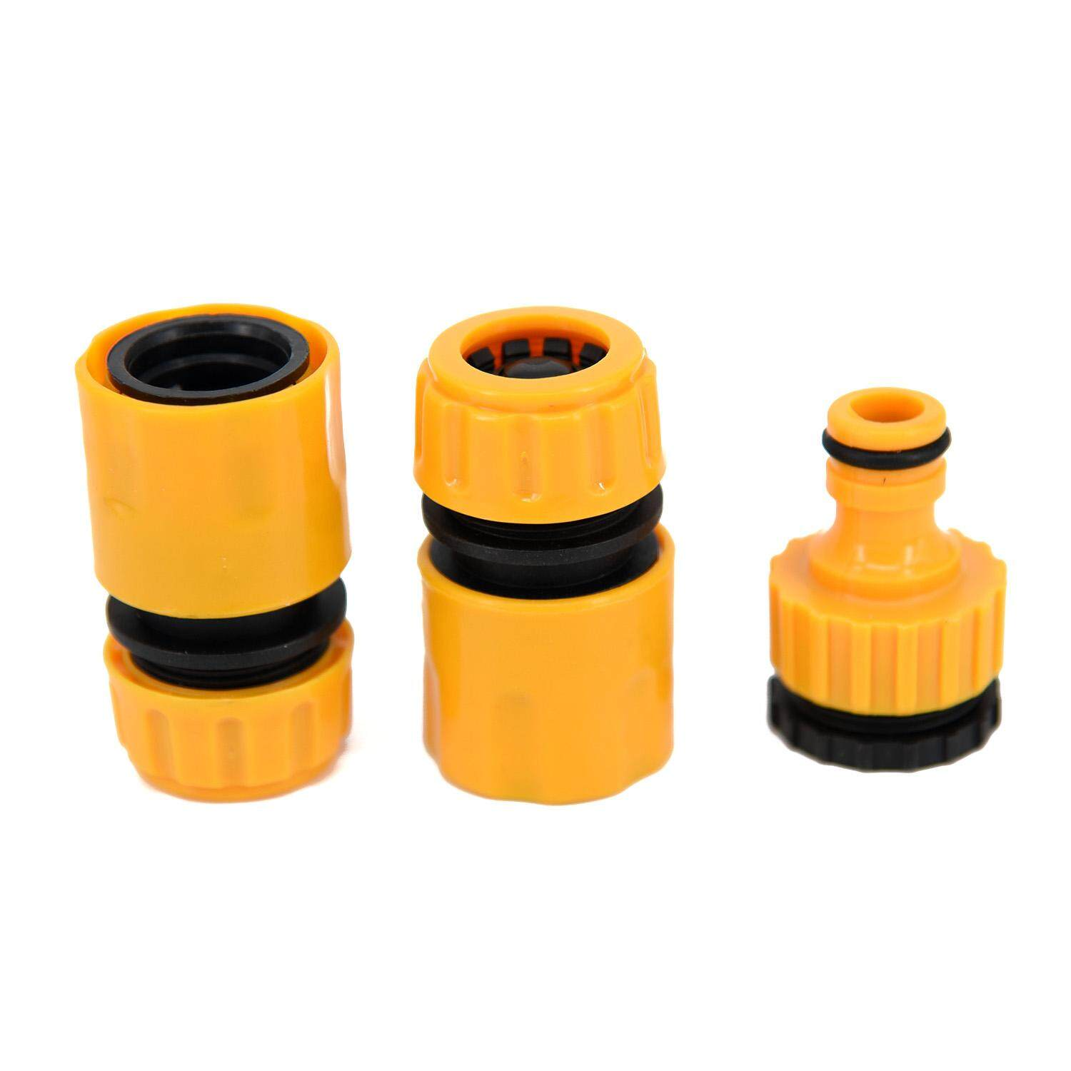 3pcs 1/2 3/4 Hose Pipe Fitting Set Quick Garden Water Connector Adaptor New