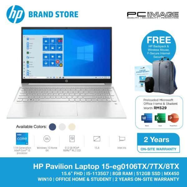 HP Pavilion 15-eg0106TX / 7TX / 8TX 15.6 FHD Laptop (Intel Core i5-1135G7, 8GB, 512GB SSD, MX450 2GB, W10, H&S ) Malaysia