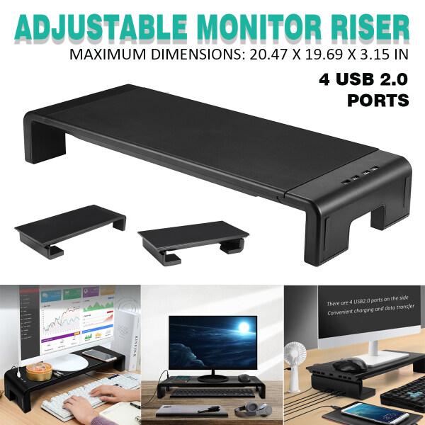 Adjustable Laptop Computer Monitor TV Desktop Stand Riser 4 USB Port Support