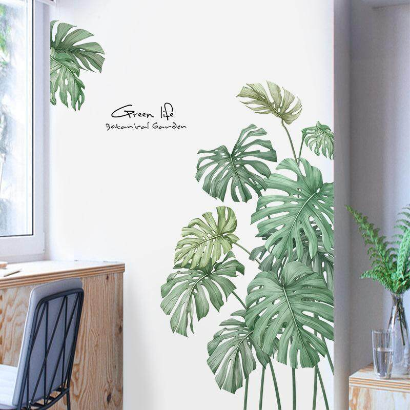 Nordic simple style Wall Stickers Plant Leaves Wardrobe Fridge sticker door stickers Dormitory Decorative Painting Stickers Wall Self-adhesive Photo Frame Living room bedroom decor