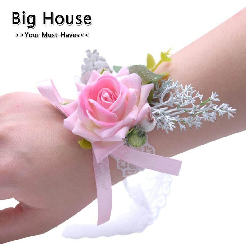 Rumah Besar Mensimulasikan Kain Flanel Bunga Pergelangan Tangan untuk Pesta Pernikahan Pengantin BRIDESMAID Memakai