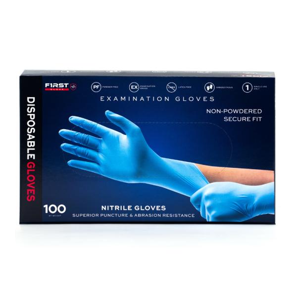 100 Pcs First Glove Disposable Blue Nitrile Examination Gloves Powder-Free