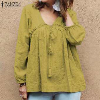 Zanzea สตรีแขนยาวยืดหยุ่น cuffs สบายๆหลวมถุงท็อปส์เสื้อเสื้อ