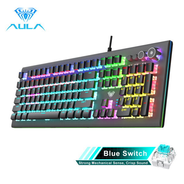 YFD AULA S2096 Mechanical Gaming Keyboard Multimedia Alloy lighting Knob 104 keys Anti-ghost Marco Programming, Backlit keyboard for PC Game Singapore