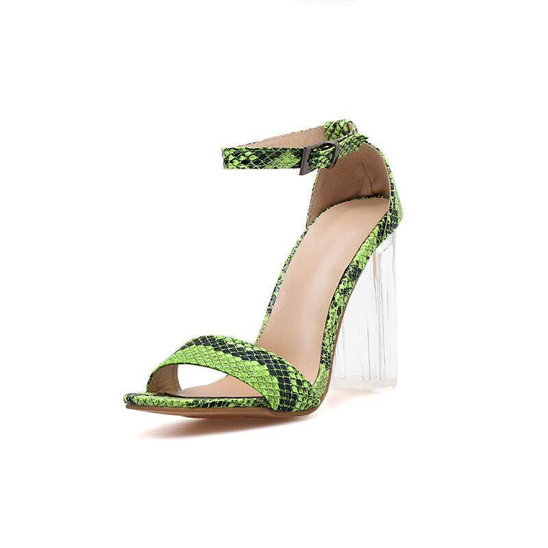 New European And American Crystal Heel Transparent Glue With Fluorescent Serpentine High Heel Sandals By Jewshop.