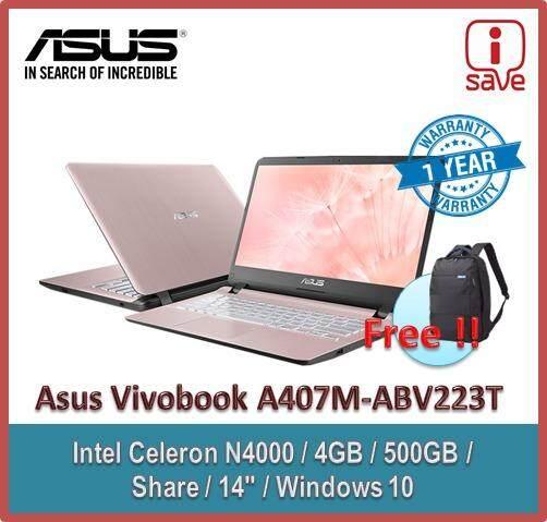ASUS VIVOBOOK A407M-ABV223T Rose Gold (N4000/4GB/500GB/14/W10/1YR) + BACKPACK Malaysia