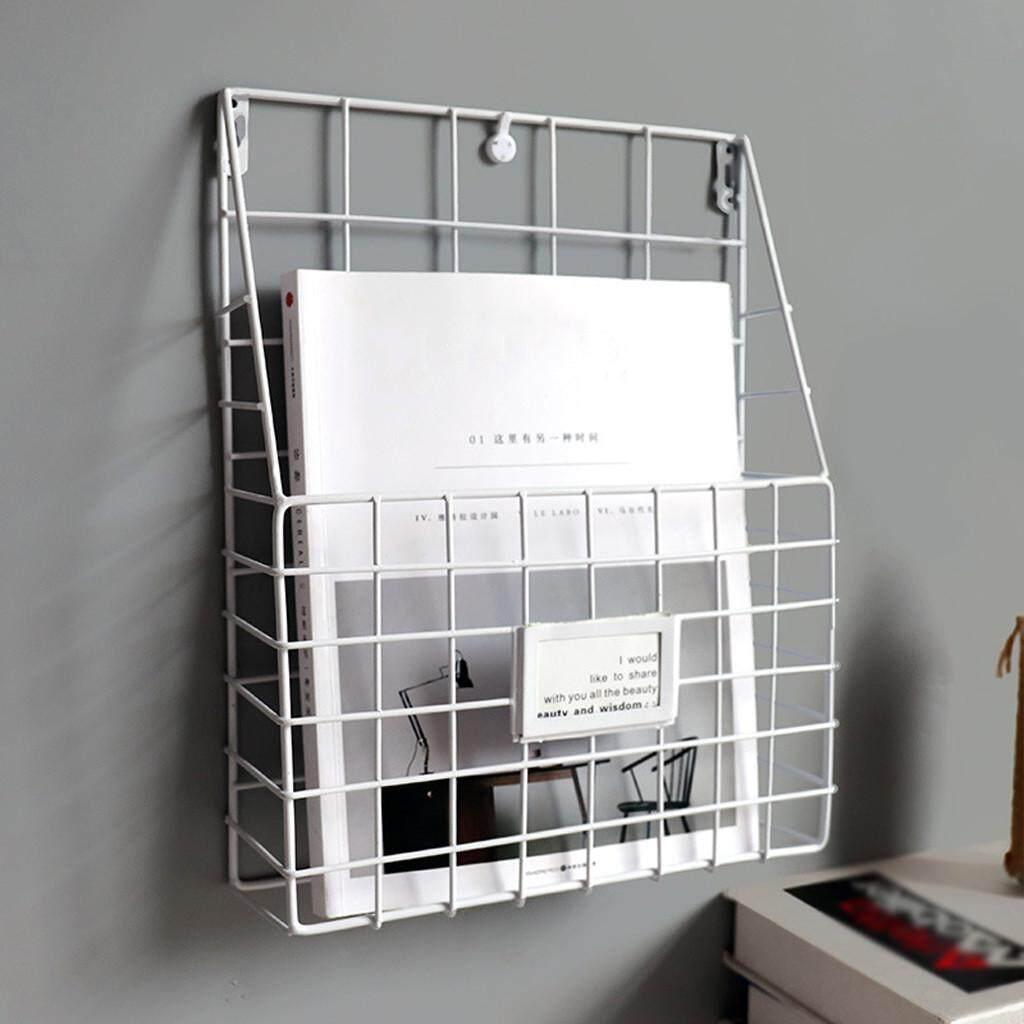 Carversstore 2019 Simple Iron Wall-Mounted Hanging Rack Magazine Newspaper Storage Shelf Organizer