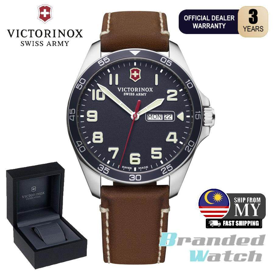 Victorinox Swiss Army 241848 Mens Fieldforce Quartz Day And Date Display Leather Swiss Made Watch Malaysia