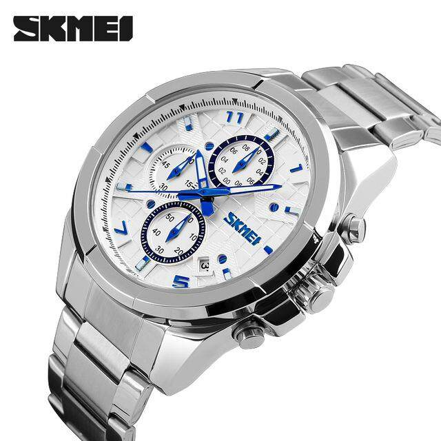 Mens SKMEI Luxury Brand Quartz Watch Mens 5ATM Waterproof Fashion Casual Sport Watch Mens Steel Watch 9109 Malaysia