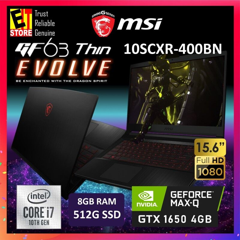 MSI GF63 THIN 10SCXR-400BN GAMING LAPTOP -BLACK (I7-10750H+HM470/8GB/512GB SSD/15.6 FHD/4GB GTX 1650 MAXQ/W10/2YRS) + BACKPACK Malaysia