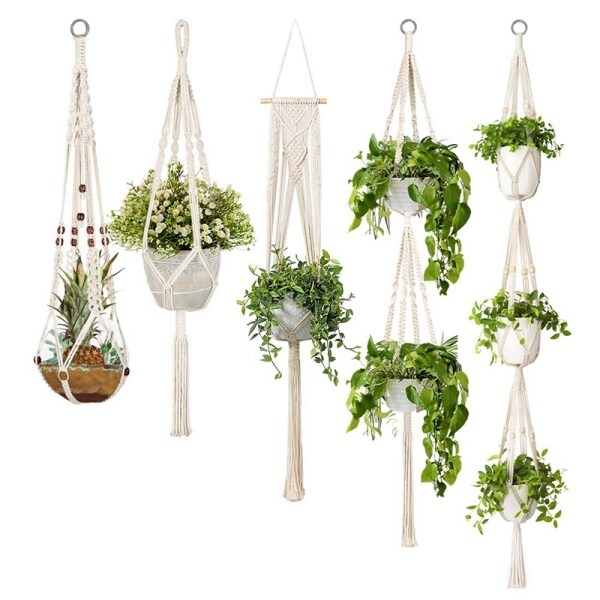 5-Pack Macrame Plant Hangers, Different Tiers, Handmade Cotton Rope Hanging Planters Set Flower Pots Holder Stand, For Indoor Outdoor Boho Home Decor