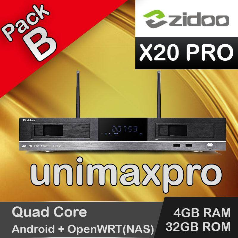 (unimax Pro)(pack B) Zidoo X20 Pro Quad Core 4gb Ram 32gb Rom Android 6 + Openwrt(nas) Tv Box Malaysian Famous Apps 10000+ Tv Channel Vod Movie Drama Series By Unimax Pro.