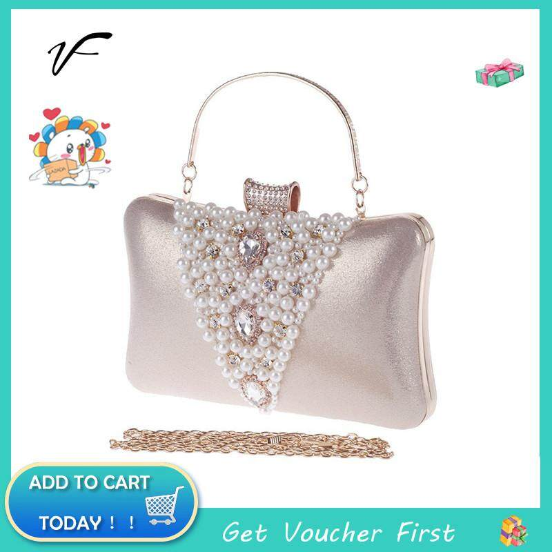 d49450aec75b 2019 Wedding Diamante Pearls Clutch Hand Bag Bridal Multi-purpose Purse  Handbag For Dinner Party For Cheongsam