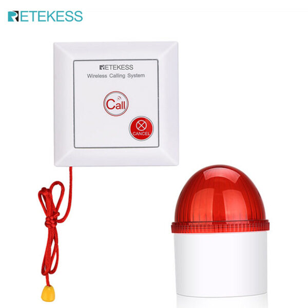 Retekess TH103 Wireless Strobe Siren 110dB Loud Siren Home Security Alarm System with Flash Siren and Panic Button for Hospital Warehouse Office Business