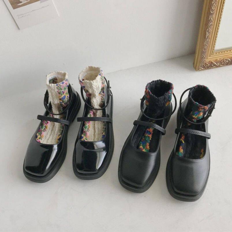 Giày Đế Bệt Nữ, Hiệu Aurora. An, Giày Nữ Mary Jane Nhật Bản, Giày Cao Gót Đế Thấp Đa Năng, Giày Mũi Tròn Màu Đen giá rẻ