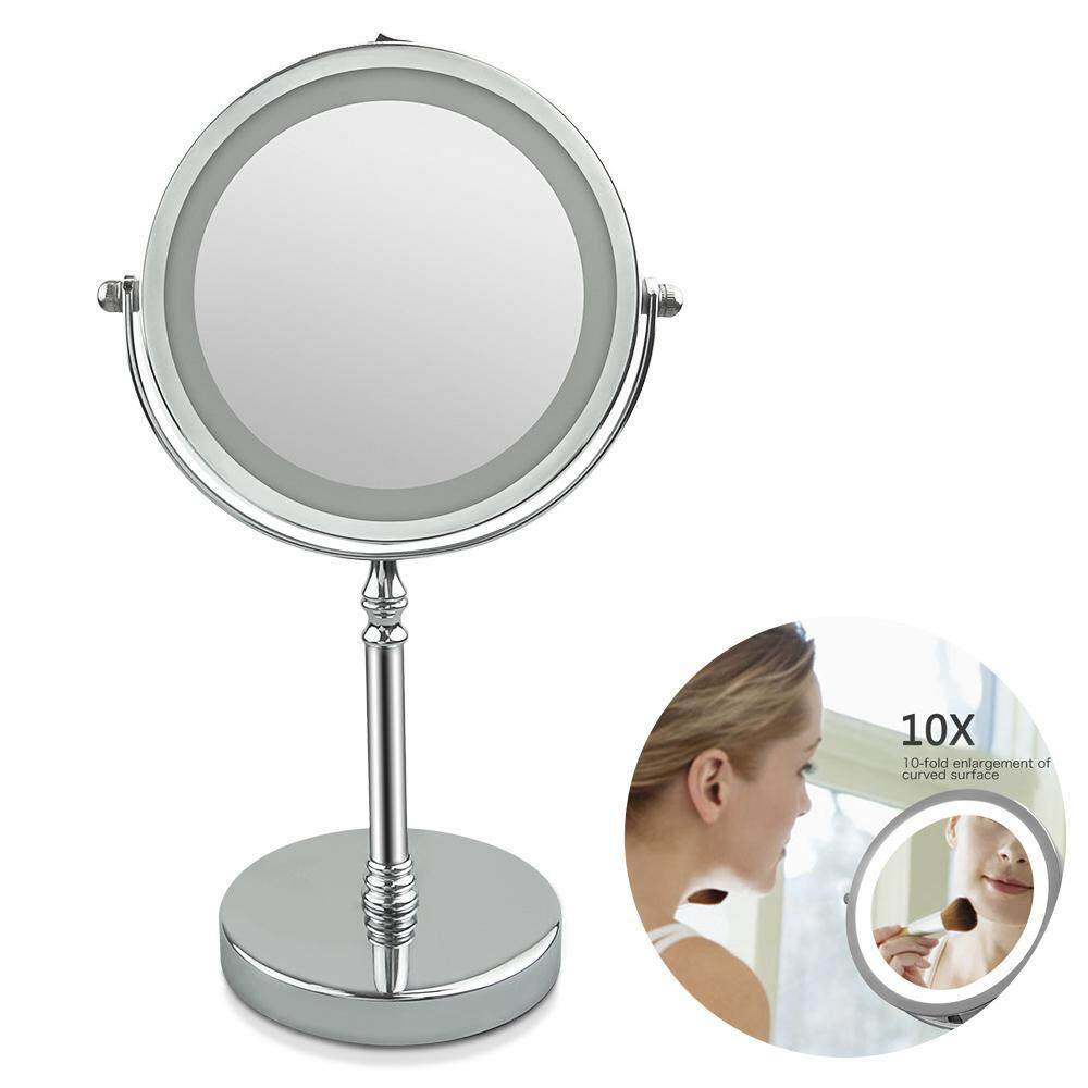 GoodGreat Led Mirror Magnifying Mirror with Lights 7 Inches Circular Lighted Makeup Mirror Double-Sided Rotating Mirror With 10x Magnification