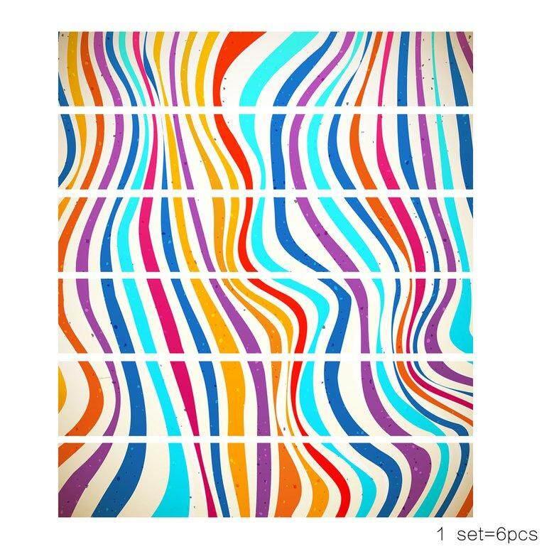 HORI Lt6P001 3D Wallpaper Diy Color Striped Wall Stickers Waterproof Stickers 6 Pcs
