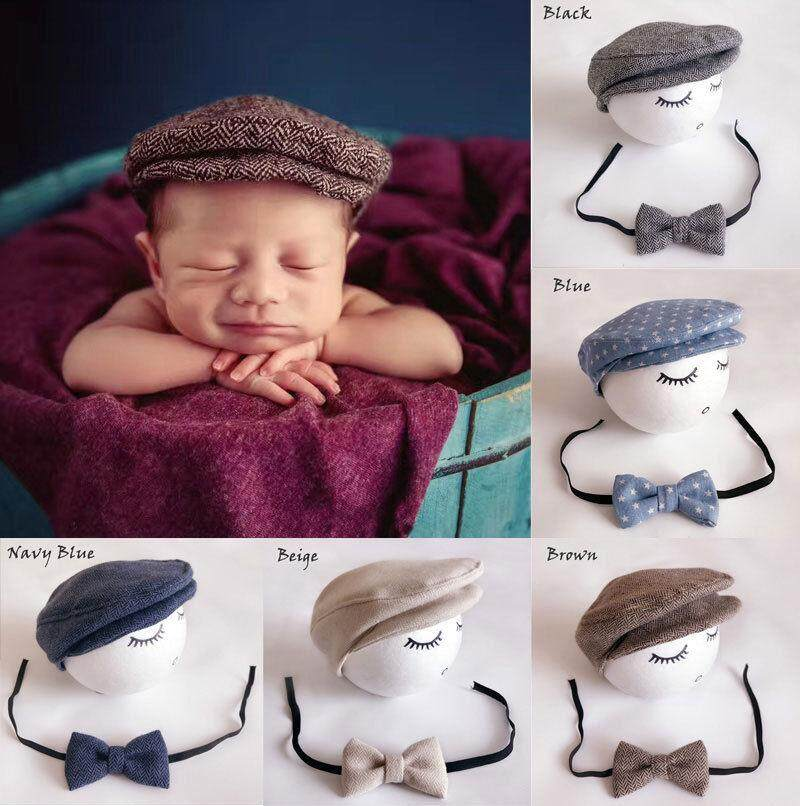 cc3e0bfd04382e Baby Girls Boys Newborn Cotton Hat Tie Costume Photo Photography Prop  Outfits