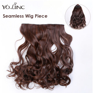 YOLINC Women Wigs Light Brown Black Wig Piece Curly Fake Hair Fashion Synthetic Hair Extension Hairnet Wig Korean Sweet Style Female Fake Hair for Cosplay Daily Wear thumbnail