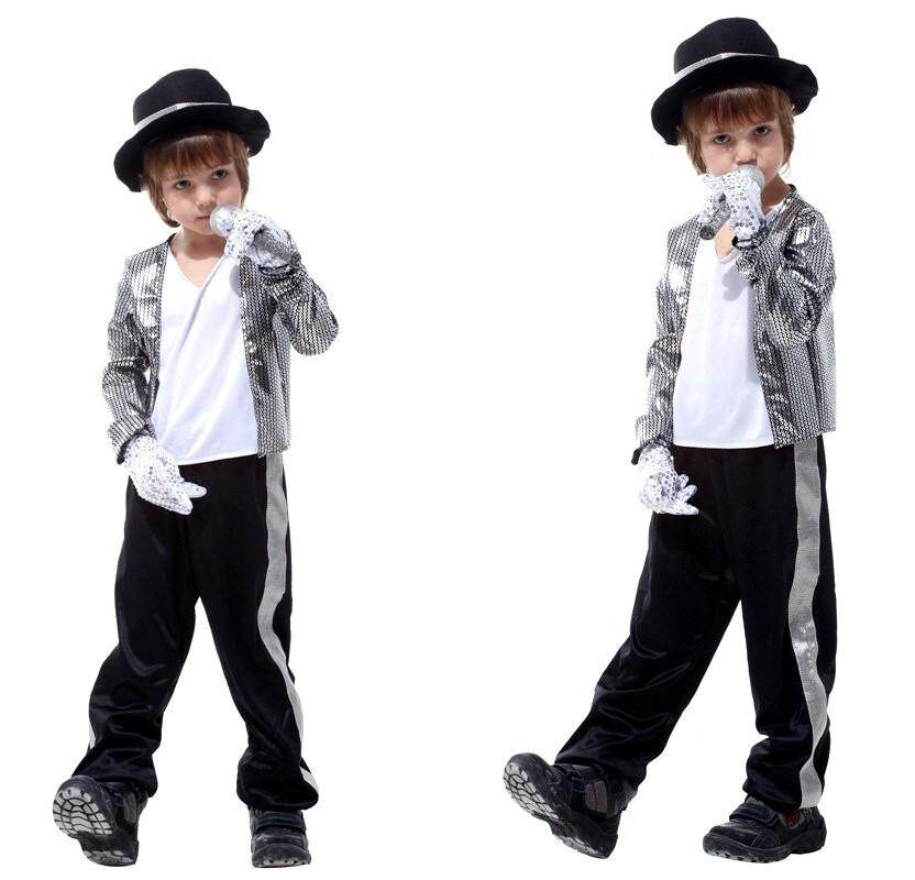 Halloween Children's Clothing Men's Christmas Costume COS Mike Jackson Clothes (Tops / Pants / Hats / Gloves * 2)
