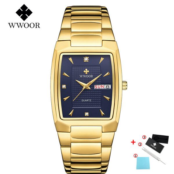 WWOOR Watch Mens Square Waterproof Quartz Watch Top Brand Luxury Business Mens Watch Free Box-8837 Malaysia