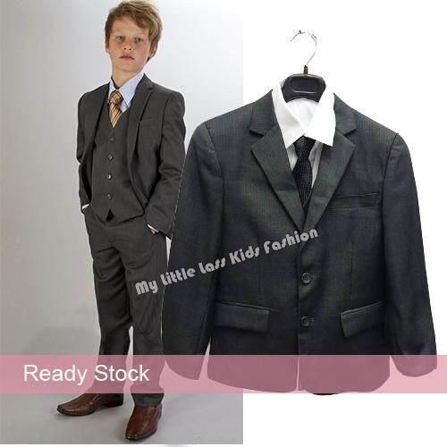 Luxury 5pcs Little Boy/man Stripes Coat Vest Set With Tie Dark Grey By My Little Lass Kids Fashion.