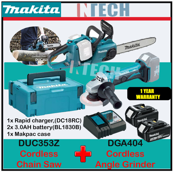 MAKITA COMBO DGA404Z CORDLESS ANGLE GRINDER C/W DUC353Z CORDLESS CHAIN SAW + 2 X 3.0Ah BATTERY + 1 X RAPID CHARGER, + MAKPAC CASE