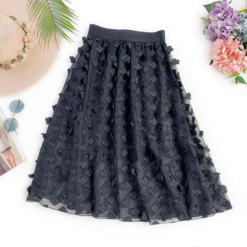 f7bc1bc25 New Summer Women Floral Embroidery Lace Skirt Women Elegant Chiffon Casual  Elastic Waist Pleated Skirt