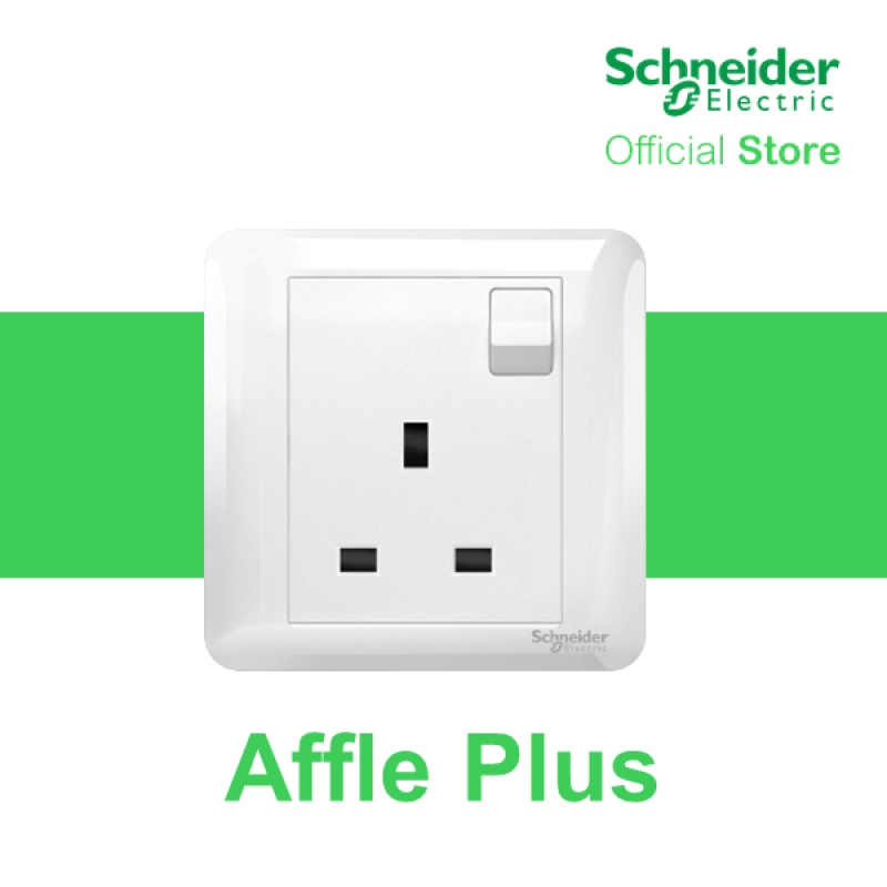 Schneider Electric Affle Plus 13A 250V 1 Gang Switched Socket, White