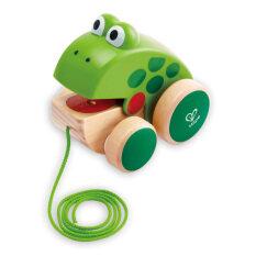 Hape Drag Frog Trẻ Em Trẻ Sơ Sinh Bằng Gỗ Đa Năng Kéo Dây Đồ Chơi Giáo Dục Trẻ Mới Biết Đi 1 Tuổi + Sơn Nước Thân Thiện Với Môi Trường, Một Con Ếch Nhỏ Đi Kèm Với Trẻ Mới Biết Đi Thiết Kế Châu Âu