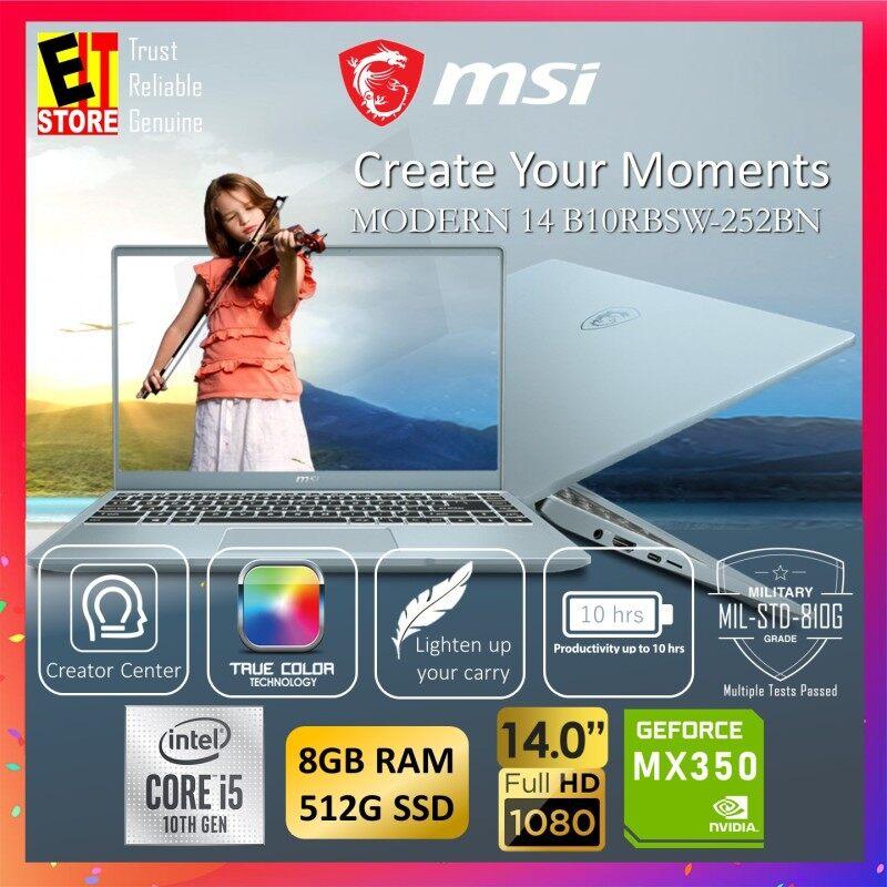 MSI MODERN 14 B10RBSW-252BN CREATION LAPTOP -BLUESTONE (I5-10210U/8GB/MX350 2GB/512GB SSD/14 FHD/W10/1YR INTERNATIONAL) + SLEEVE Malaysia
