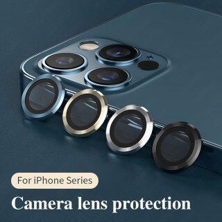 Ốp Bảo Vệ Toàn Màn Hình Ống Kính Máy Ảnh 3D Camera Mini Cho IPhone 12 Pro Max 12 Kính Cường Lực Bảo Vệ + Kim Loại Nhẫn Bìa thumbnail