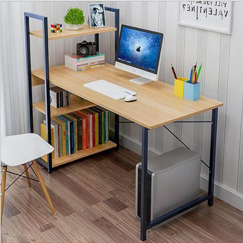 b0fac2a4848 Modern Design Home Office Computer Laptop Desk Sturdy Table With Book  Shelves