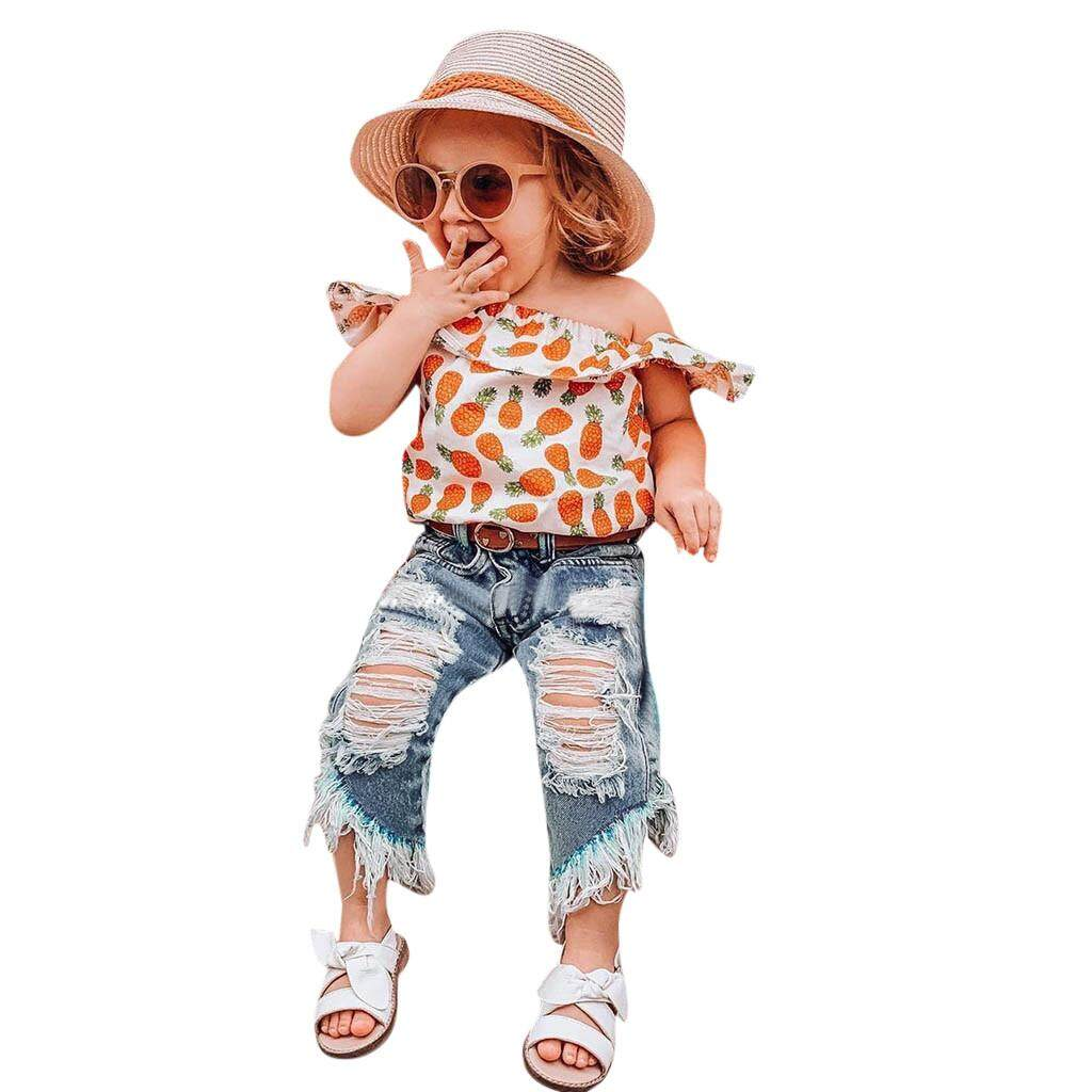 Toddler Kids Baby Girls Outfits Clothes Pineapple Print Shirt Top+Hole Jeans Set