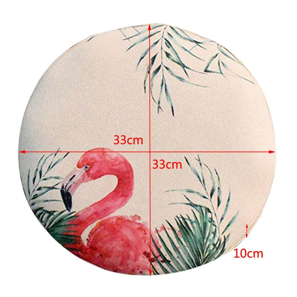 Fityle 2pcs Pack Elastic Home Bar Stool Cover Round Chair Slip Cover Flamingo 33cm