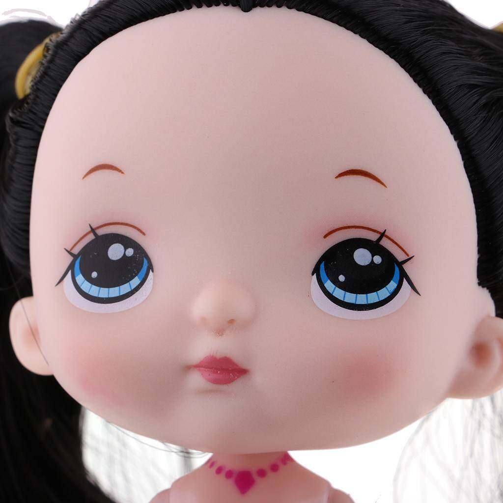 Black Hair Wig Birthday Gift 7inch Mermaid Princess Doll with Pink Fishtail