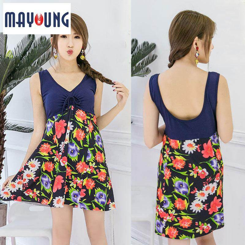 40c81147de5 Mayoung Women Floral Print Swimsuit V Neck Sleeveless Backless Slim Fit Dress  XL-3XL