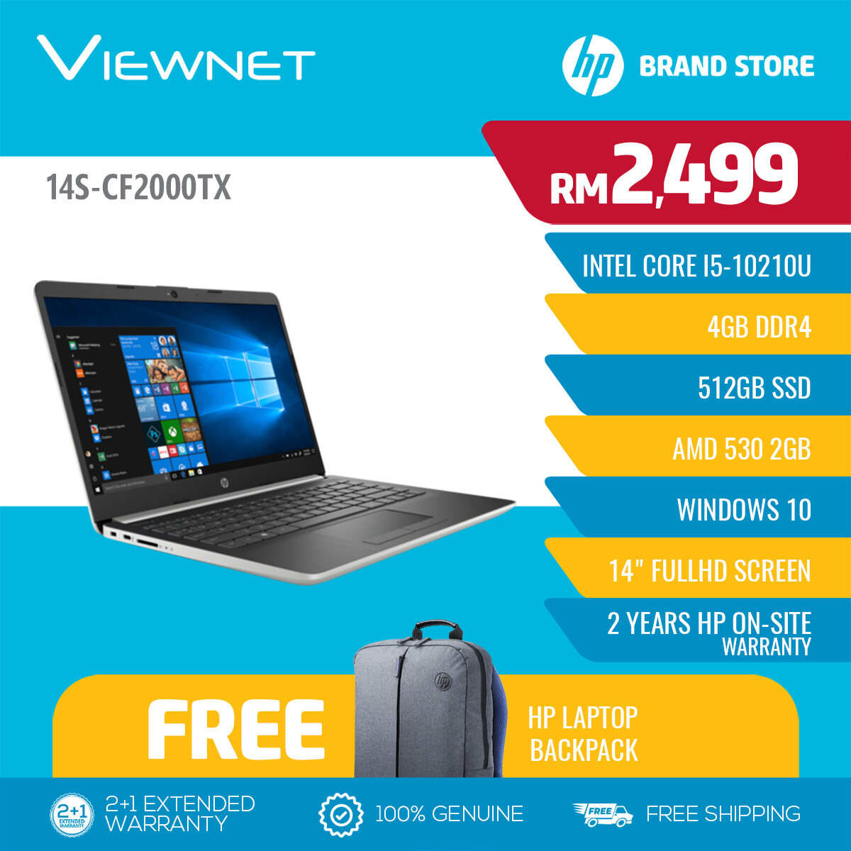 HP 14S-CF2000TX 14 FHD Silver Laptop (INTEL CORE I5-10210U/4GB DDR4/512GB SSD/AMD 530 2GB/W10) Malaysia