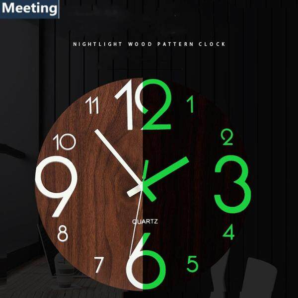 Hot-Luminous Wall Clock,12 Inch Wooden Silent Non-Ticking Kitchen Wall Clocks With Night Lights For Indoor/Outdoor Living Room