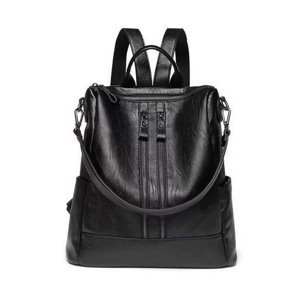 YAY MALAYSIA READY STOK Double Zip Women Casual Backpacks Black Leather Bag Travel Ladies Perempuan Hadiah