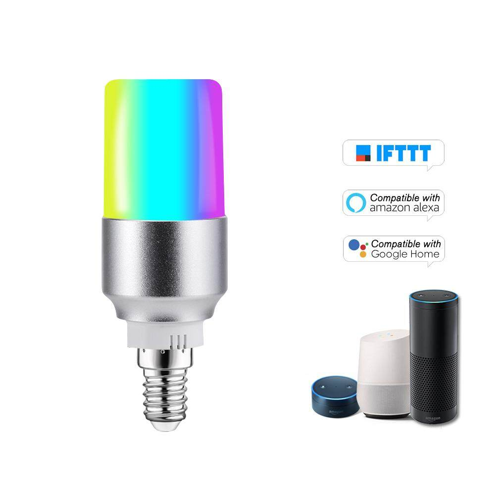 V15 Smart WIFI LE-D Bulb RGB+W LE-D Bulb 6W E14 Dimmable Light Phone Remote Control Group Control Compatible with Alexa Goo-gle Home Tmall Genie Voice Control Light Bulb